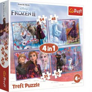 Puzzle Trefl 4 in 1, Frozen II, Calatorie catre necunoscut, 207 piese