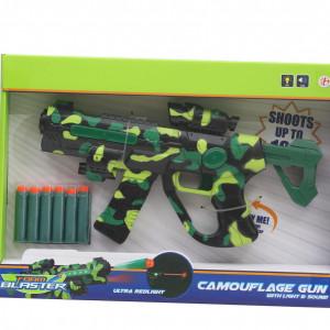 Arma Camuflaj TOI-TOYS cu Gloante din Spuma,Lumini si Sunete