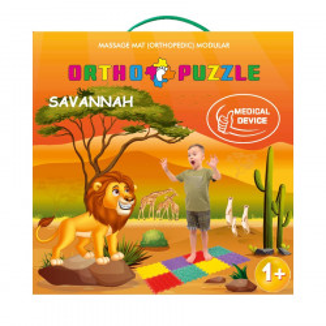Covor ortopedic pentru copii Savanna, Ortho Puzzle, PVC, multicolor, 100 x 50 cm