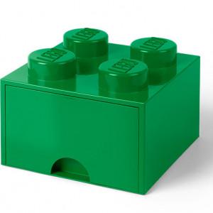 Cutie depozitare LEGO 2x2 cu sertar, verde