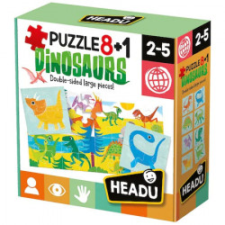 Puzzle Headu Teacher Tested - Dinozaurii, 2 fete, 8+1
