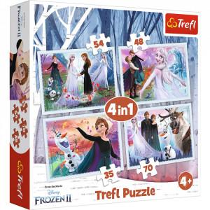 Puzzle Trefl 4 in 1, Disney Frozen II, Padurea magica