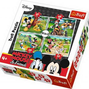 Puzzle Trefl 4 in 1, In parc cu Mickey