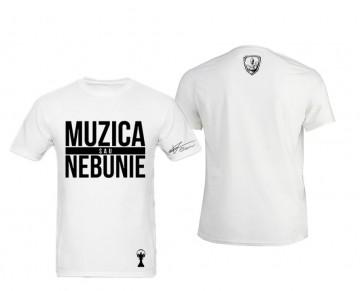 "Tricou Muzica sau nebunie ""white"""