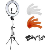 Lampa circulara LED lumina rece/calda 55W, Ring Light 48cm cu trepied, geanta, suport