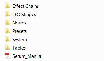 Serum synth folders with presets