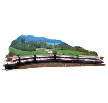 Trenulet de calatori electric cu peisaj Cercanias Renfe