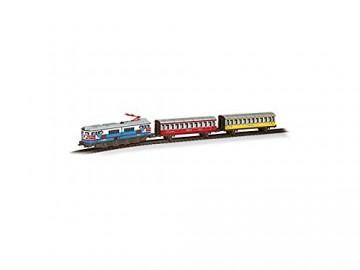Trenulet de calatori electric colorat cu far si macheta