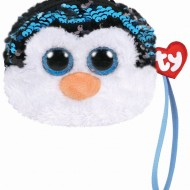 Gentuta De Mana Din Plus Cu Paiete TY Pinguinul Waddles, 10 cm