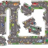 Puzzle gigant de podea traseu masini, 20 piese