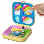 Set de joaca Polly Pocket, Cutiuta Cadou Surpriza, Galbena
