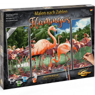 KIT PICTURA PE NUMERE SCHIPPER FLAMINGO, 3 TABLOURI