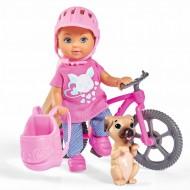 Papusa Evi cu bicicleta si catel