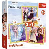 Puzzle 3 in 1 Frozen II Anna si Elsa