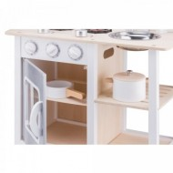 Bucatarie lemn Bon appetit alb cu argintiu