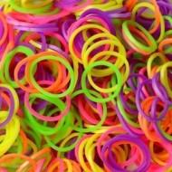 Elastice neon mix, Rainbow Loom, 300 buc