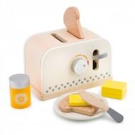 Set Toaster alb din lemn