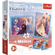 Puzzle Frozen II Tinutul Misterios, 2 in 1 memo