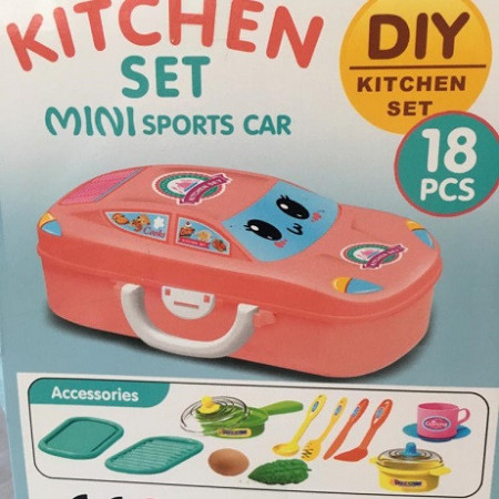 Set de joaca 2 in 1, Kitchen Set Mini Sports Car DIY cu 18 piese, Pink