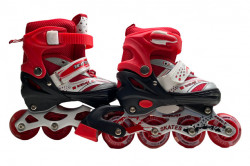 Role Reglabile 3 in 1 Mondays Skates cu roti din silicon cu LED, marime 34-37, Red