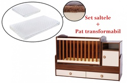 PACHET Patut transformabil Maggy + Set saltelute 165/65 cm Brown/creme