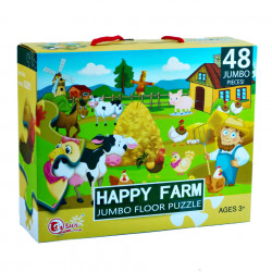 Puzzle gigant 48 piese, Happy Farm, Jumbo Floor, Multicolor