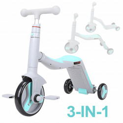 Trotineta multifunctionala, Honor, 3 in 1, Gri/Bleu transformabila in tricicleta sau balance bike, cu lumini si muzica