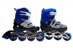 Role Reglabile 3 in 1Mondays Skates cu roti din silicon cu LED, marime 34-37, Blue