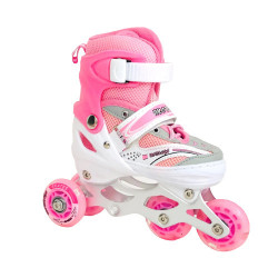 Role Reglabile 3 in 1 Mondays Skates cu roti din silicon cu LED, marime 34-37, Pink