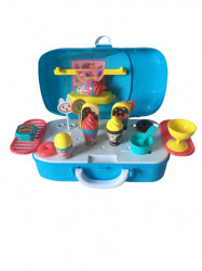 Set de joaca 2 in 1, Dessert House Mini Sports Car DIY cu 22 piese, Blue