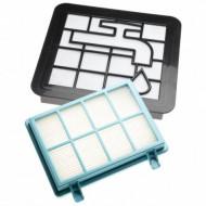 Kit filtre Originale aspirator Philips PowerPro Compact FC8010/01, 1 filtru antialergic, 1 filtru lavabil pentru motor, 1 filtru din burete lavabil