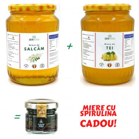 Pachet Miere de Salcam cu Miere de Tei + Miere cu Spirulina CADOU