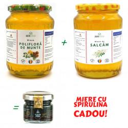 Pachet Miere de Salcam cu Miere Poliflora de Munte + Miere cu Spirulina CADOU