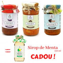 Pachet 3 borcane Zacusca Ago BIO cu Sriop de Menta CADOU