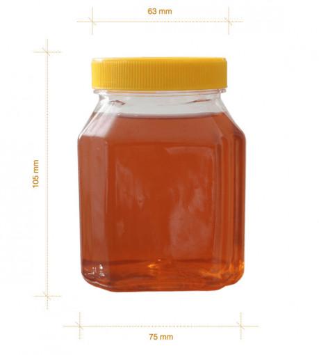 borcan pentru miere patrat din plastic 500 gr