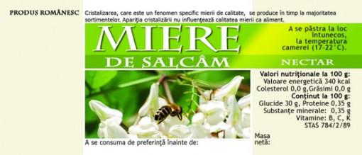 Etichete de miere de Salcam flori cu albina 115mm x 50 mm