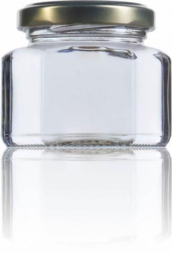 Borcan pentru marturii cu miere sau pentru laptisor de matca 106ml - Hexagonal