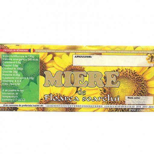 eticheta miere de floarea soarelui pentru borcan
