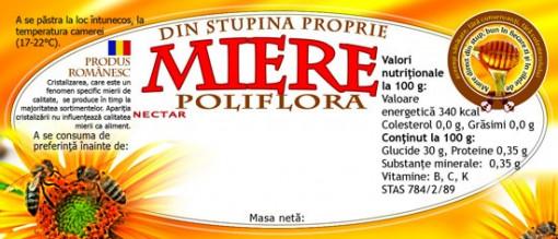 Etichete miere portocalie Poliflora din stupina proprie 115 mm x 50 mm