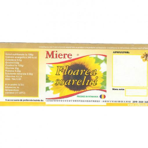 Eticheta borcan miere de Floarea Soarelui cu floare pe mijloc 120mm x 50mm