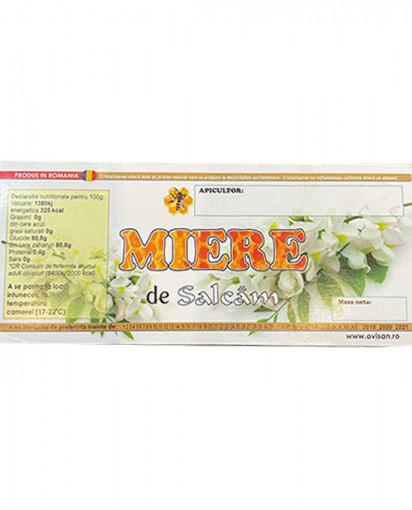 eticheta miere de salcam cu flori