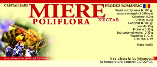 Eticheta miere Poliflora Nectar albina 115mm x 50 mm