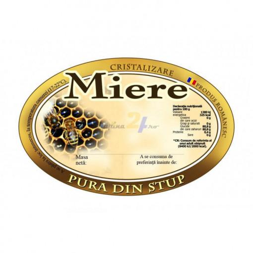 eticheta rotunda miere pura din stup