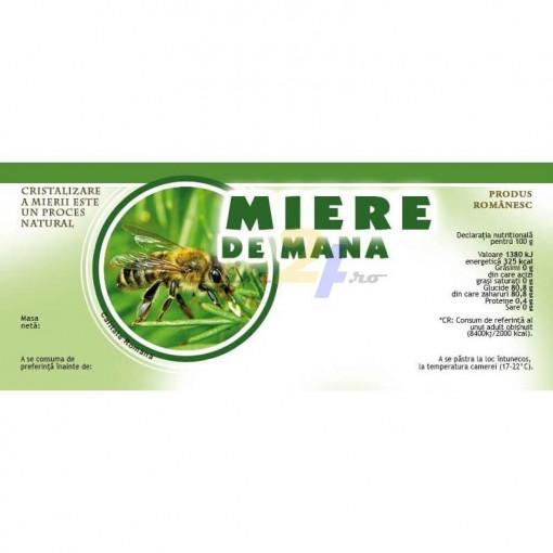 eticheta borcan cu verde miere de mana