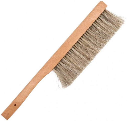 perie apicola cu par inchis la culoare cu par natural si maner din lemn