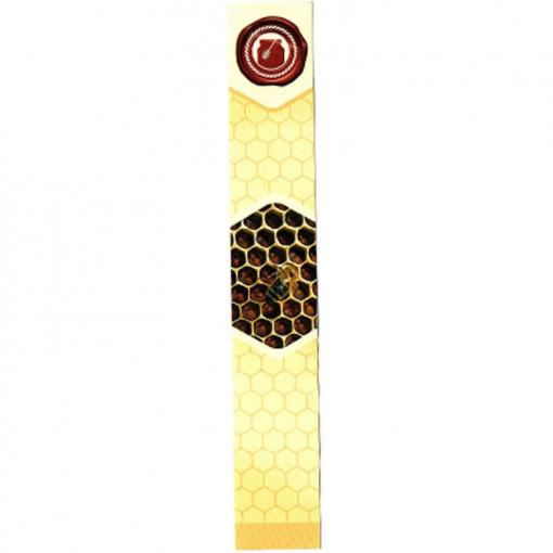 sigiliu galben pentru borcan cu miere cu albina pe fagure