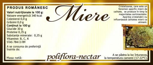Eticheta miere rama cu miere Poliflora Nectar 115 mm x 50 mm