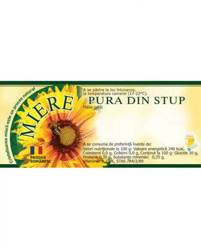 eticheta miere pura din stup model verde