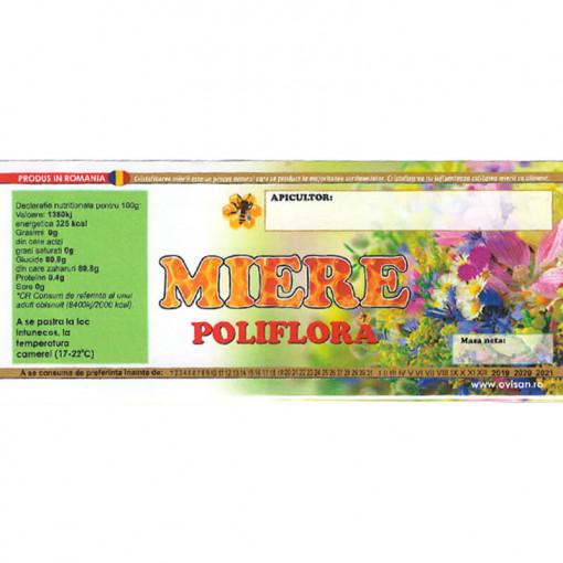 eticheta miere poliflora cu verde si flori pe fundal