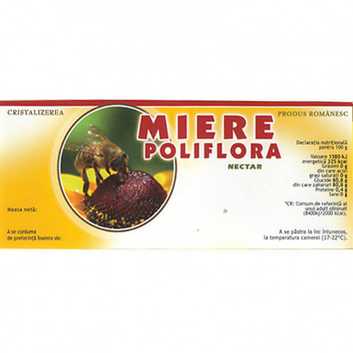 eticheta miere poliflora nectar portocalie 115 X 50 MM